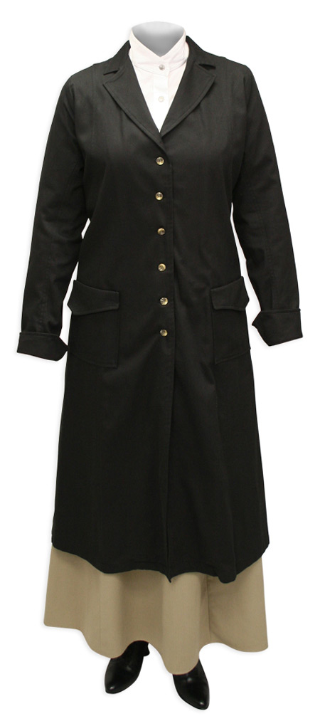 Victorian Old West Steampunk Ladies Coats Black Cotton Solid Dusters |Antique Vintage Fashioned Wedding Theatrical Reenacting Costume |