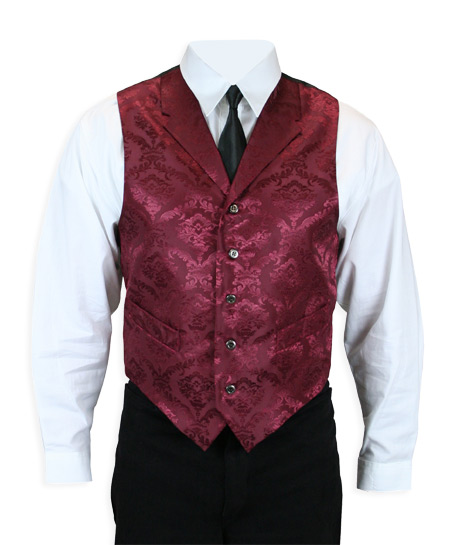Victorian Old West Mens Vests Burgundy Satin Synthetic Microfiber Print Dress |Antique Vintage Fashioned Wedding Theatrical Reenacting Costume | NYE