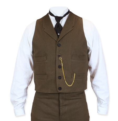 Victorian Old West Steampunk Mens Vests Brown Cotton Solid Dress Work Matched Separates |Antique Vintage Fashioned Wedding Theatrical Reenacting Costume |