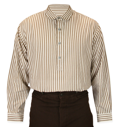 Victorian Old West Mens Shirts Brown Ivory Tan Cotton Stripe Dress Work |Antique Vintage Fashioned Wedding Theatrical Reenacting Costume |