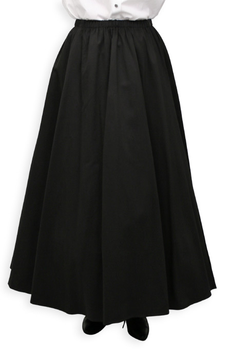 Victorian Old West Ladies Skirts Black Cotton Solid Dress Work |Antique Vintage Fashioned Wedding Theatrical Reenacting Costume |