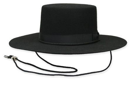 Victorian Old West Mens Hats Black Wool Felt Wide Brim |Antique Vintage Fashioned Wedding Theatrical Reenacting Costume |