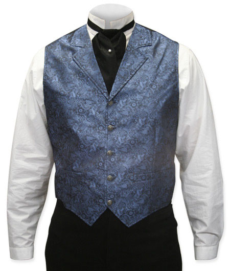 Victorian Old West Mens Vests Blue Satin Synthetic Microfiber Paisley Dress |Antique Vintage Fashioned Wedding Theatrical Reenacting Costume |