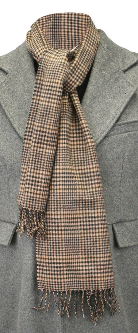 Victorian Mens Ties Brown Wool Plaid Scarves |Antique Vintage Old Fashioned Wedding Theatrical Reenacting Costume | Gifts for Him Her Dickens