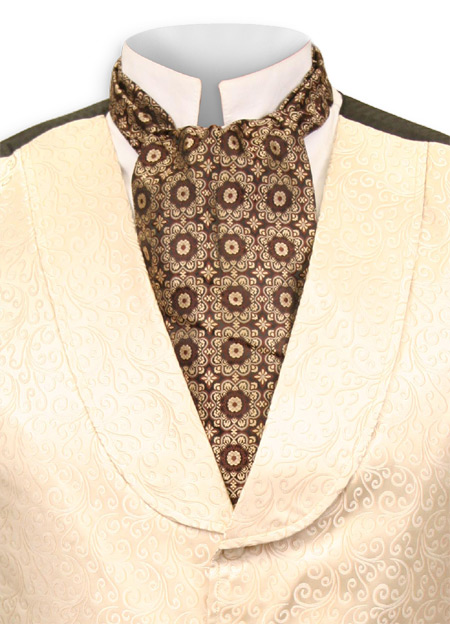 Victorian Old West Mens Ties Brown Satin Synthetic Geometric Ascots |Antique Vintage Fashioned Wedding Theatrical Reenacting Costume | Gifts for Him