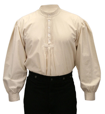 Victorian Old West Mens Shirts Ivory Cotton Solid Work Pioneer |Antique Vintage Fashioned Wedding Theatrical Reenacting Costume |