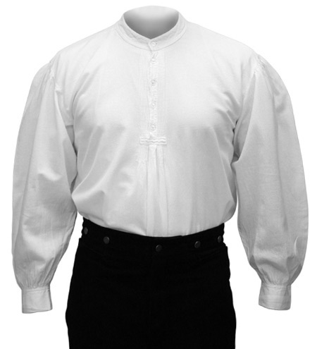 Victorian Old West Mens Shirts White Cotton Solid Work Pioneer |Antique Vintage Fashioned Wedding Theatrical Reenacting Costume |