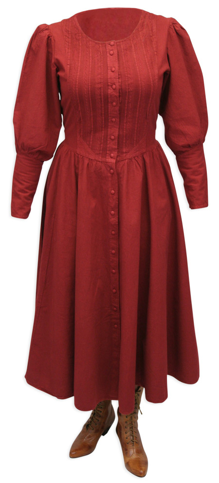 Victorian Old West Steampunk Ladies Dresses and Suits Red Cotton Solid |Antique Vintage Fashioned Wedding Theatrical Reenacting Costume |