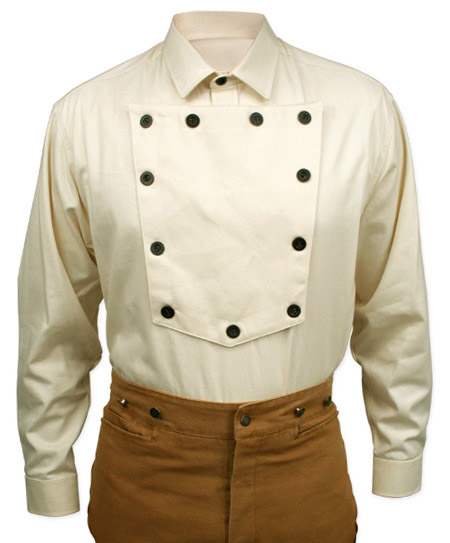Old West Mens Shirts Ivory Cotton Solid Bib Work |Antique Vintage Fashioned Wedding Theatrical Reenacting Costume |