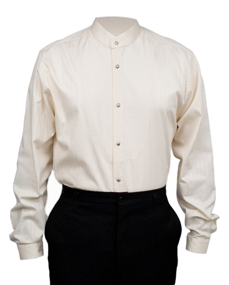 Victorian Old West Mens Shirts Ivory Cotton Solid Dress |Antique Vintage Fashioned Wedding Theatrical Reenacting Costume |