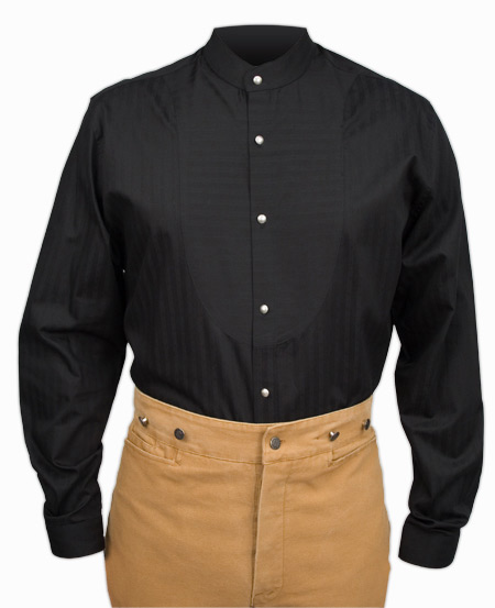 Victorian Old West Mens Shirts Black Cotton Solid Dress |Antique Vintage Fashioned Wedding Theatrical Reenacting Costume | Lawman
