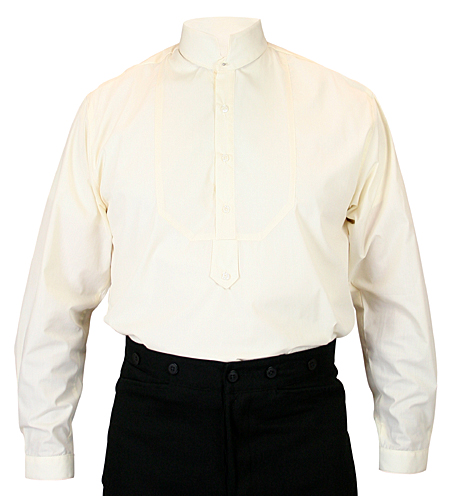 Victorian Old West Steampunk Mens Shirts Ivory Cotton Solid Dress Tuxedo |Antique Vintage Fashioned Wedding Theatrical Reenacting Costume |