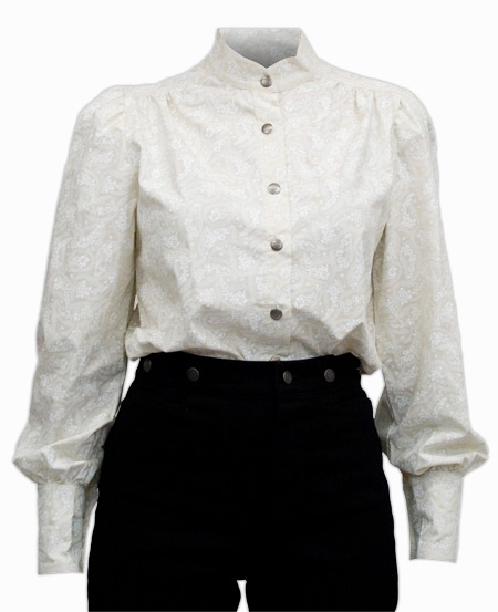 Victorian Old West Ladies Blouses White Cotton Paisley |Antique Vintage Fashioned Wedding Theatrical Reenacting Costume |