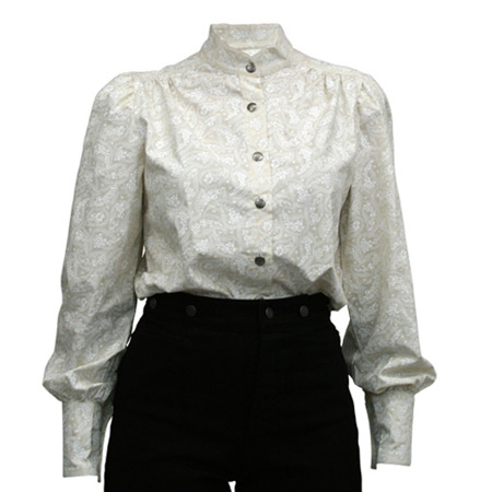 Victorian Old West Ladies Blouses Ivory Cotton Paisley |Antique Vintage Fashioned Wedding Theatrical Reenacting Costume |