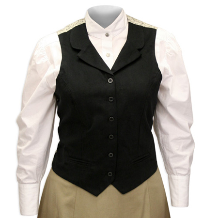Victorian Old West Ladies Vests Black Cotton Solid Dress Work |Antique Vintage Fashioned Wedding Theatrical Reenacting Costume |