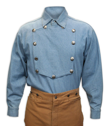 Old West Mens Shirts Blue Cotton Solid Bib Work |Antique Vintage Fashioned Wedding Theatrical Reenacting Costume |