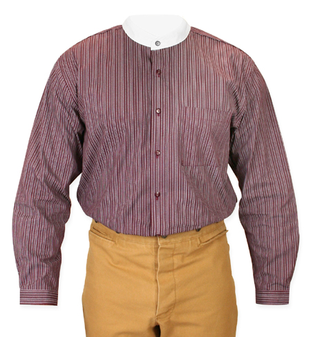 Victorian Old West Mens Shirts Burgundy Cotton Stripe Work |Antique Vintage Fashioned Wedding Theatrical Reenacting Costume |