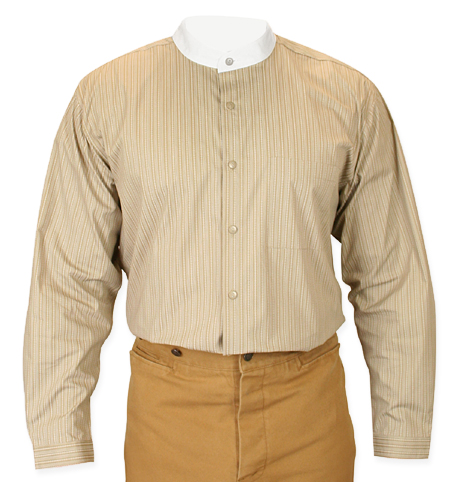 Victorian Old West Mens Shirts Brown Tan Cotton Stripe Work |Antique Vintage Fashioned Wedding Theatrical Reenacting Costume |