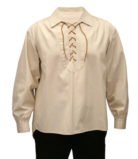 Old West Mens Shirts Ivory Cotton Solid Work Pioneer |Antique Vintage Fashioned Wedding Theatrical Reenacting Costume |