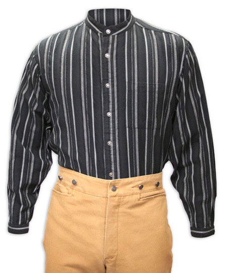 Old West Mens Shirts Black Cotton Stripe Work |Antique Vintage Fashioned Wedding Theatrical Reenacting Costume |