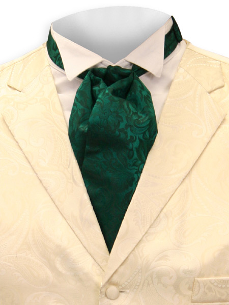 Victorian Old West Mens Ties Green Silk Floral Puff |Antique Vintage Fashioned Wedding Theatrical Reenacting Costume |