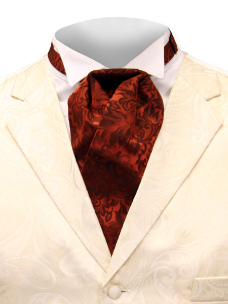 Victorian Old West Steampunk Mens Ties Red Silk Floral Puff |Antique Vintage Fashioned Wedding Theatrical Reenacting Costume |