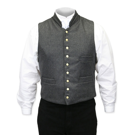 Victorian Old West Mens Vests Gray Wool Solid Dress Work |Antique Vintage Fashioned Wedding Theatrical Reenacting Costume |