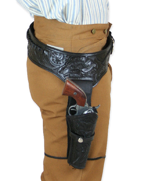 ( 38/ 357 cal) Western Gun Belt and Holster - RH Draw - Black Tooled Leather