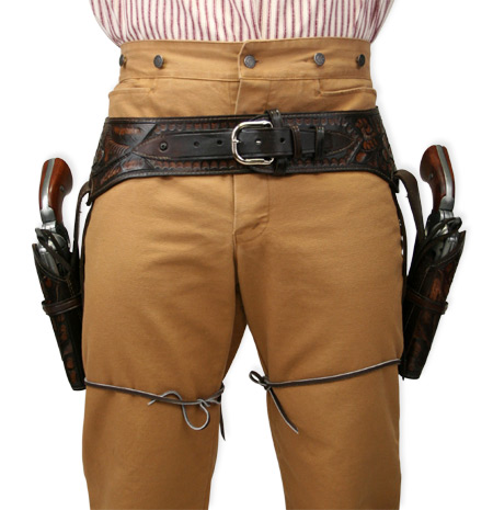efca60e0c50392 (.44 .45 cal) Western Gun Belt and Holster - Double - Two-Tone Brown Tooled  Leather