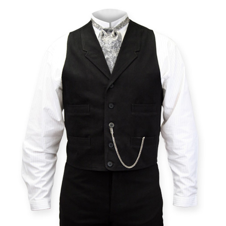 Victorian Old West Mens Vests Black Cotton Solid Dress Work Matched Separates |Antique Vintage Fashioned Wedding Theatrical Reenacting Costume |