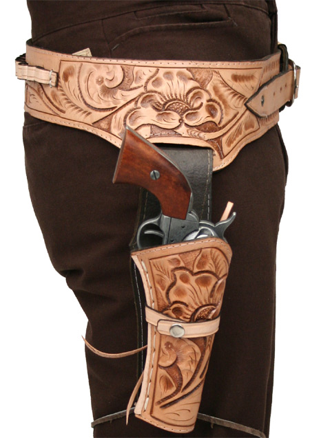 Old West Holsters and Gunbelts Brown Leather Tooled Gunbelt Holster Combos |Antique Vintage Fashioned Wedding Theatrical Reenacting Costume |