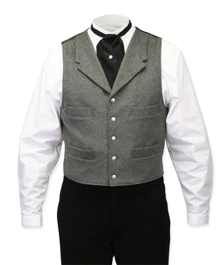 Victorian Old West Mens Vests Gray Wool Blend Solid Dress Work |Antique Vintage Fashioned Wedding Theatrical Reenacting Costume |