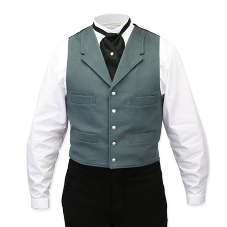 Victorian Old West Steampunk Mens Vests Green Wool Blend Solid Dress |Antique Vintage Fashioned Wedding Theatrical Reenacting Costume |