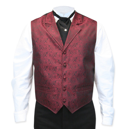 Victorian Old West Mens Vests Burgundy Satin Synthetic Microfiber Paisley Dress |Antique Vintage Fashioned Wedding Theatrical Reenacting Costume |