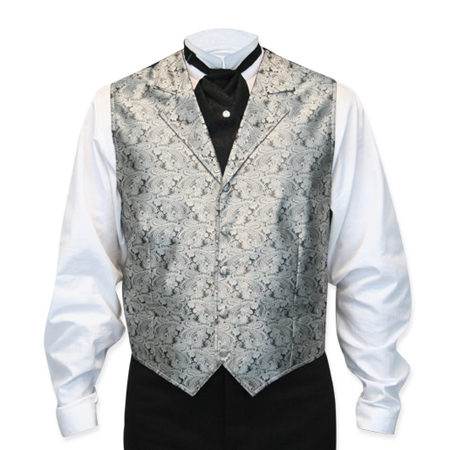 Victorian Old West Mens Vests Silver Synthetic Paisley Dress |Antique Vintage Fashioned Wedding Theatrical Reenacting Costume | NYE