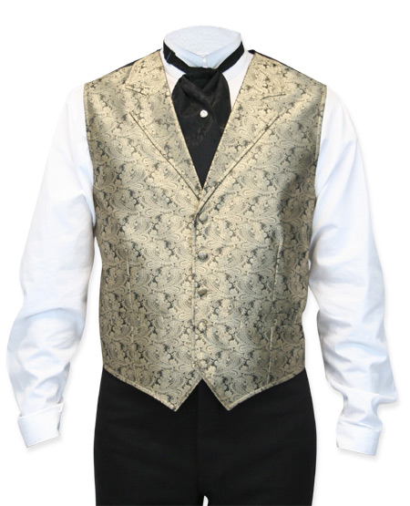 Victorian Old West Mens Vests Gold Synthetic Paisley Dress |Antique Vintage Fashioned Wedding Theatrical Reenacting Costume | NYE