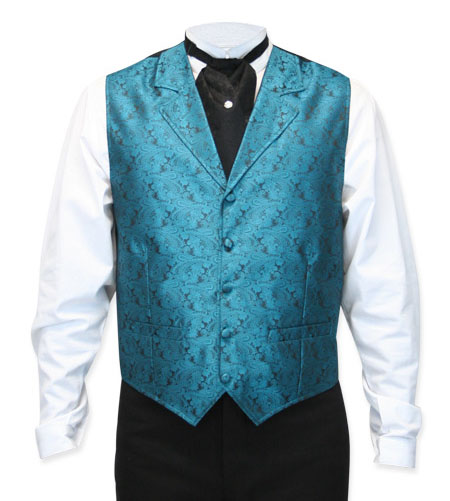 Victorian Old West Mens Vests Blue Synthetic Paisley Dress |Antique Vintage Fashioned Wedding Theatrical Reenacting Costume |