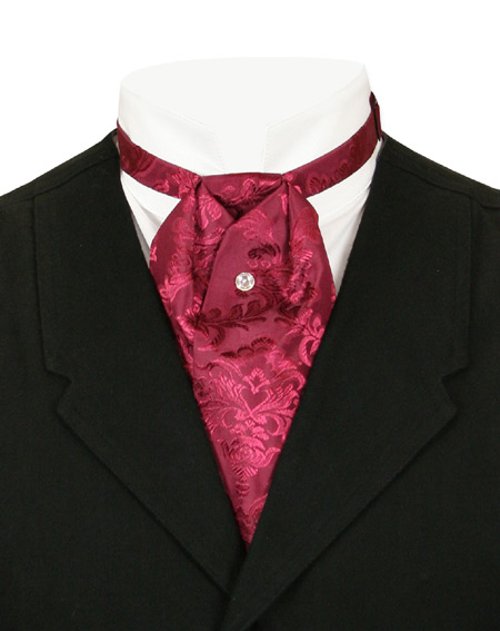 Victorian Old West Mens Ties Burgundy Satin Synthetic Floral Puff |Antique Vintage Fashioned Wedding Theatrical Reenacting Costume |