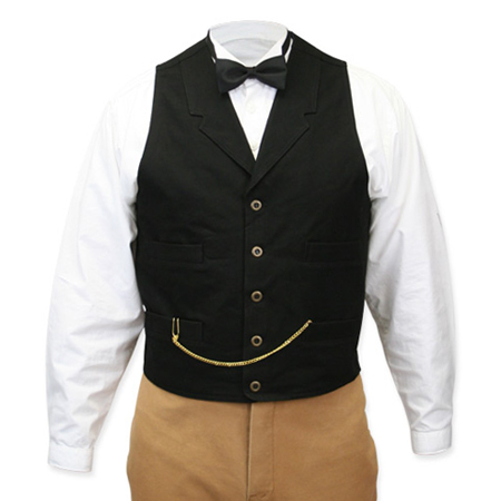 Victorian Old West Steampunk Mens Vests Black Cotton Solid Work |Antique Vintage Fashioned Wedding Theatrical Reenacting Costume |