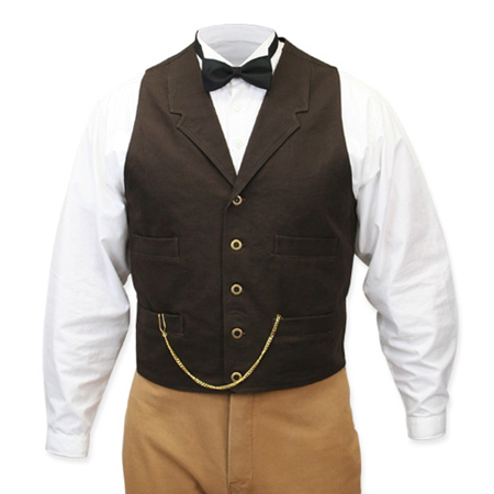 Victorian Old West Steampunk Mens Vests Brown Cotton Solid Work |Antique Vintage Fashioned Wedding Theatrical Reenacting Costume |
