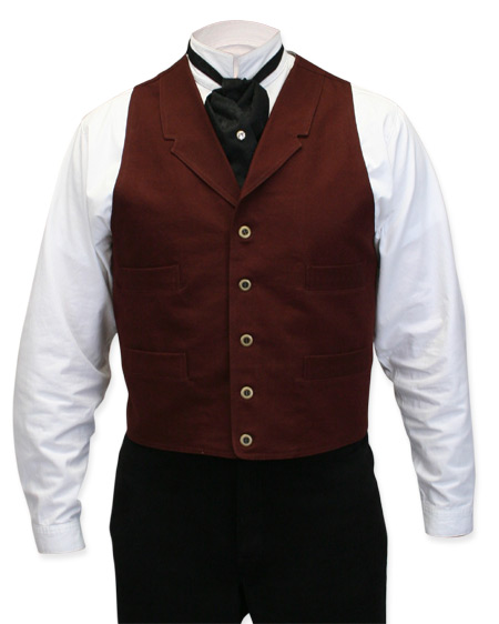 Victorian Old West Steampunk Mens Vests Red Cotton Solid Work |Antique Vintage Fashioned Wedding Theatrical Reenacting Costume |