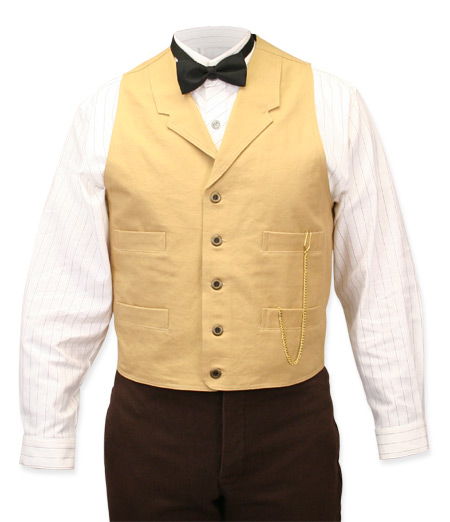 Victorian Old West Steampunk Mens Vests Tan Cotton Solid Work |Antique Vintage Fashioned Wedding Theatrical Reenacting Costume |