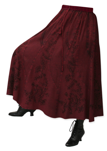 Victorian Steampunk Ladies Skirts Burgundy Synthetic Floral Work Dress |Antique Vintage Old Fashioned Wedding Theatrical Reenacting Costume |