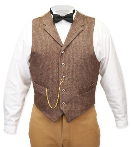 Victorian Old West Steampunk Mens Vests Brown Wool Blend Tweed Herringbone Dress Work |Antique Vintage Fashioned Wedding Theatrical Reenacting Costume |