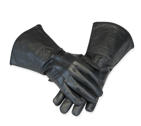 Victorian Old West Steampunk Mens Accessories Black Leather Solid Gauntlets Gloves |Antique Vintage Fashioned Wedding Theatrical Reenacting Costume | Adventurer Mad Scientist