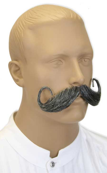Victorian Old West Steampunk Mens Mustaches Gray Natural |Antique Vintage Fashioned Wedding Theatrical Reenacting Costume | Adventurer Gifts for Him