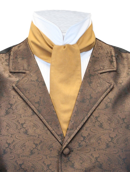 Victorian Old West Mens Ties Brown Tan Cotton Solid Cravats |Antique Vintage Fashioned Wedding Theatrical Reenacting Costume |