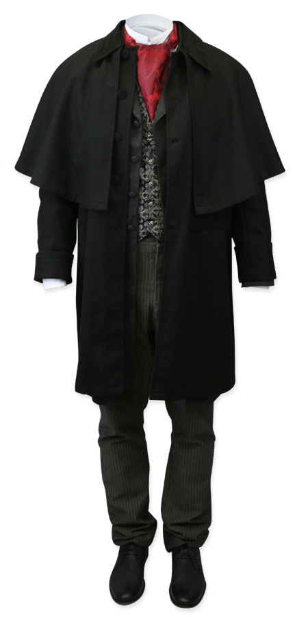 Victorian Old West Steampunk Mens Coats Black Wool Velvet Solid Cloaks Overcoats |Antique Vintage Fashioned Wedding Theatrical Reenacting Costume | Dickens Vampire