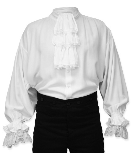 Victorian Steampunk Regency Mens Shirts White Synthetic Solid Dress |Antique Vintage Old Fashioned Wedding Theatrical Reenacting Costume | Dickens Pirate