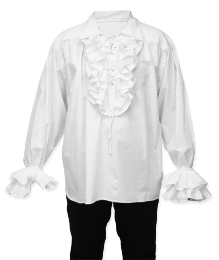 Victorian Steampunk Regency Mens Shirts White Cotton Solid Dress |Antique Vintage Old Fashioned Wedding Theatrical Reenacting Costume | Pirate